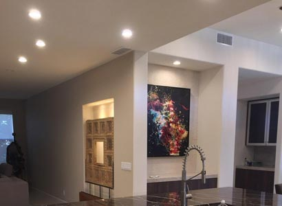 La Jolla LED Lutron art lighting with LED recessed can lights