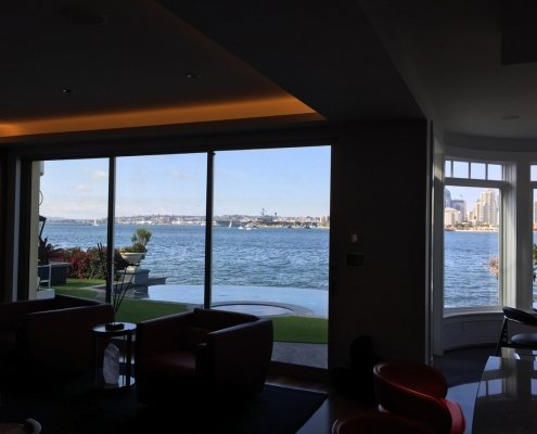 View of Coronado highlighted with soffit lights