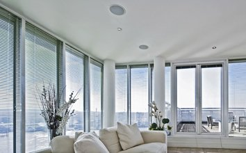 Ceiling mounted home sterio speakers in San Diego living room
