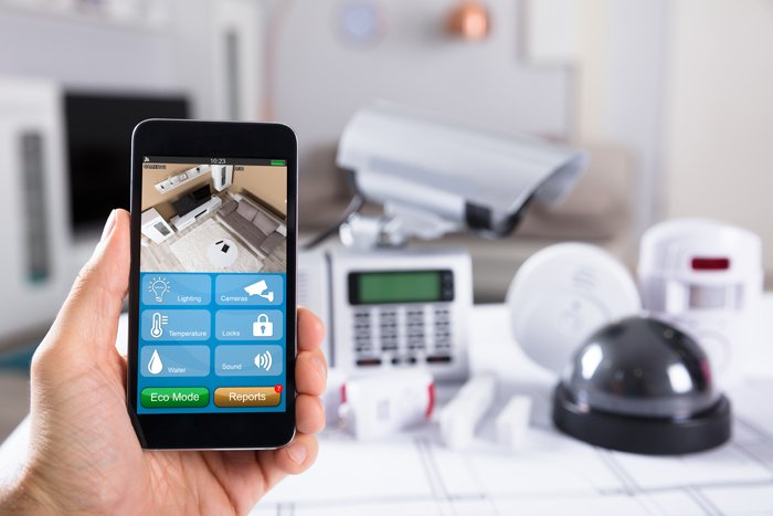 smart phone used for smart home security system in San Diego