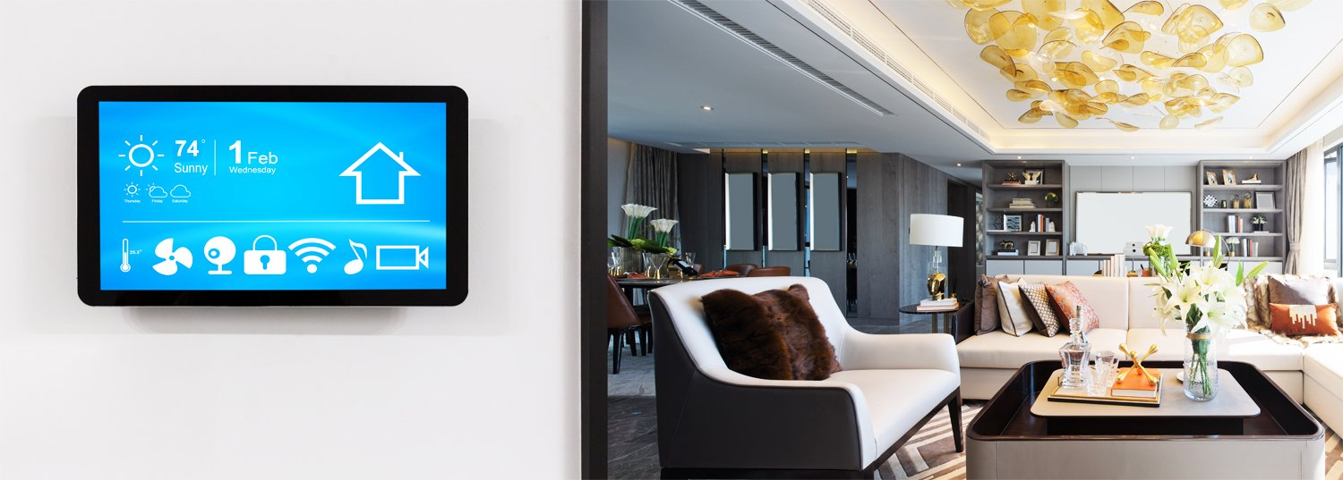 Wall mounted smart home controller in San Diego residential home