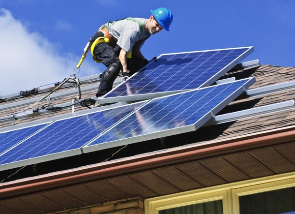 mounting solar panels at a San Diego home